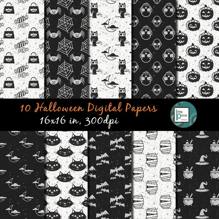 Halloween Digital Paper, Halloween Scrapbook Paper, Black and White Halloween, Printable Halloween, Halloween Background, Halloween Pattern - pinned by pin4etsy.com
