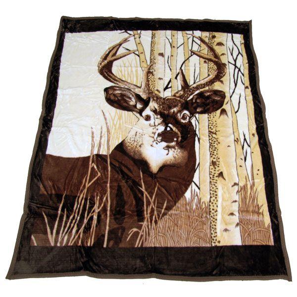 Plush Queen Size Blanket In Deer Design