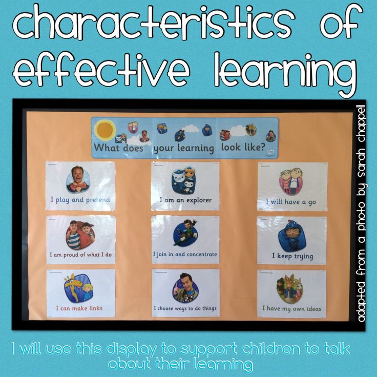 Characteristics of effective learning display. To be used to support children to talk about their learning.