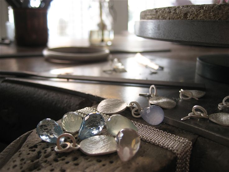 Silver pendants getting ready for blue topaz, rose quartz, prehnite and blue lace agate. Then finished with silver chain. By Karina Bach-Lauritsen