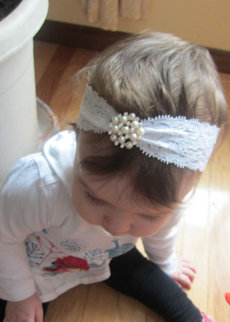 Darling Lace and Rhinestone and Pearl Baby Headband - Baptism, Christening, Rhinestones, Bling, Newborn, Infant, Toddler Hair Accessory. $9.00, via Etsy.