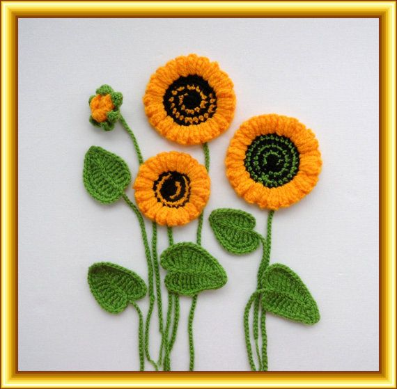 Crochet Applique Sunflowers and Leaves Set por CraftsbySigita