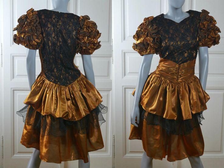 1980s Prom Dress, Golden Bronze Satin & Black Lace European Vintage Formal Dance Party Dress: Size 10 US, Size 14 UK