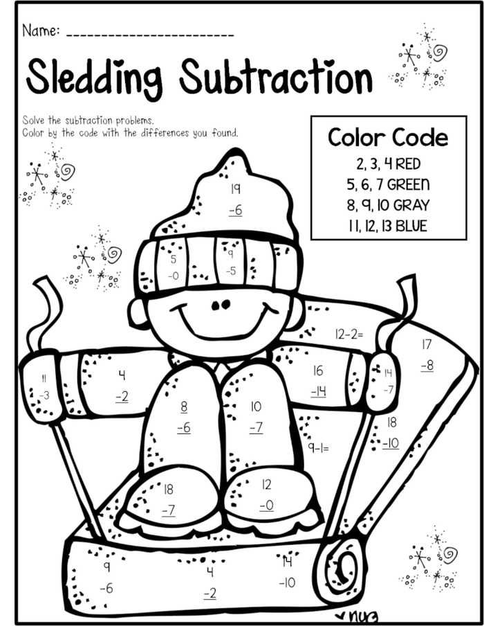 Subtraction Color By Number And Worksheet For Kids Free Coloring Sheets Winter Math Worksheets Math Pages Christmas Math Worksheets