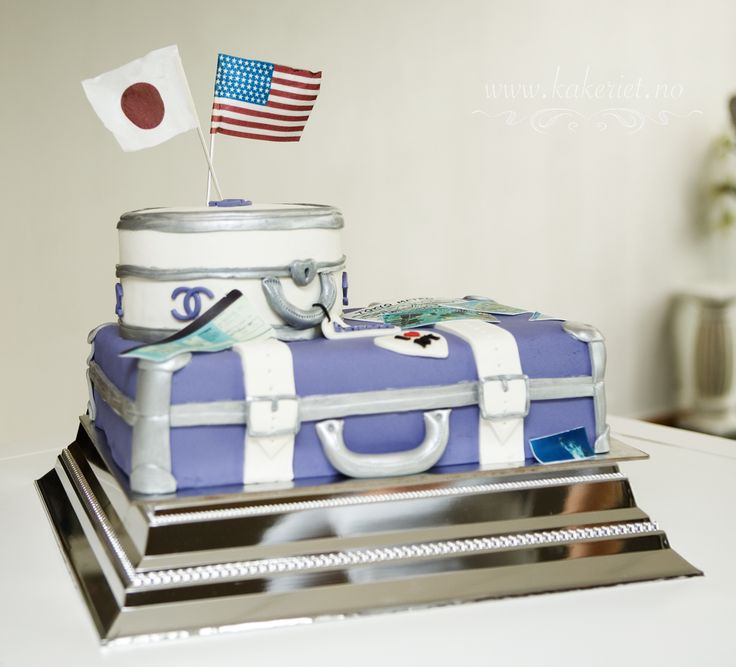 Suitcase cake travelling purple lavender USA Tokyo
