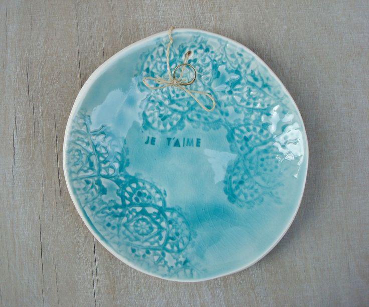 Coussin alliances bleu turquoise en porcelaine, Porte alliances en porcelaine, Coupelle alliances turquoise, quelque chose de bleu mariage : Autres accessoires par oerine