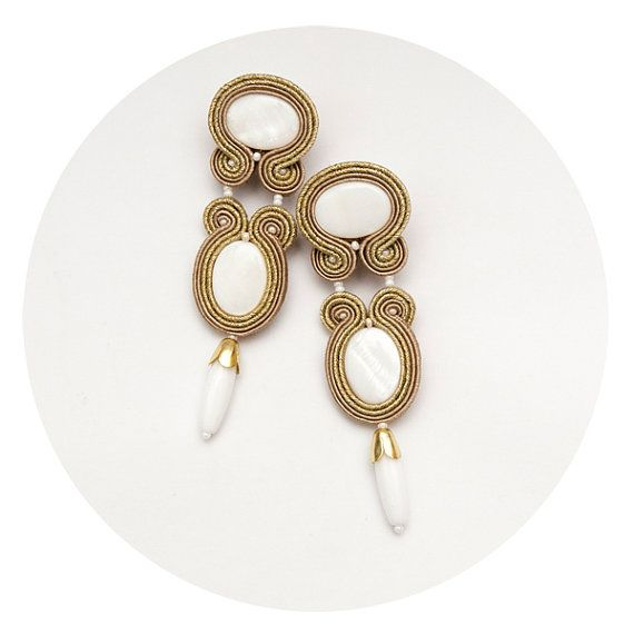 Bead embroidery earrings Gold white earrings Statement by MANJApl, zł134.00