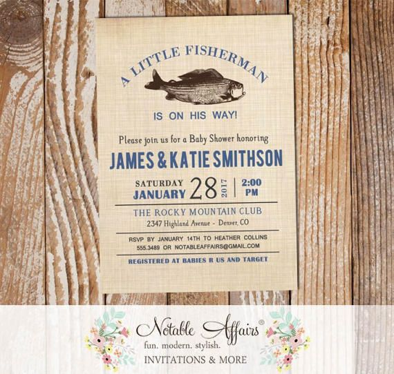 Vintage Fish Little Fisherman Light Navy baby shower invitation - fishing shower - boy baby shower - accent text color change only by NotableAffairs