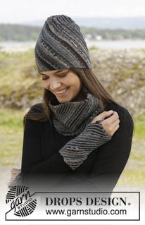 """Erin - Knitted DROPS hat, neck warmer and wrist warmers in stockinette st with diagonal ridges in """"Fabel"""". - Free pattern by DROPS Design"""
