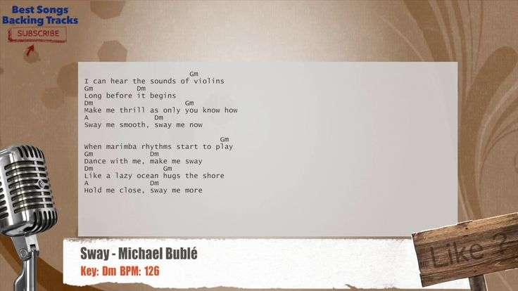 Sway - Michael Bublé Vocal Backing Track with chords and lyrics