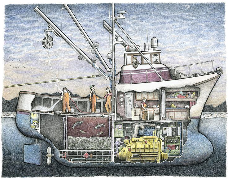 This is a fiberglass seiner built in the style of the great limit seiners built by Delta Marine in Seattle in the 1980s. The bulbous bow was not an original feature of these boats, but many have now been retrofitted with them.This series will end at 500 prints.Artist: Tom Crestodina