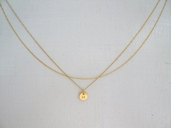 Gold Initial Necklace, 14k Goldfilled Double Chain, Tiny Personalized Hand Stamped Custom Disc Charm $38.00, via Etsy.