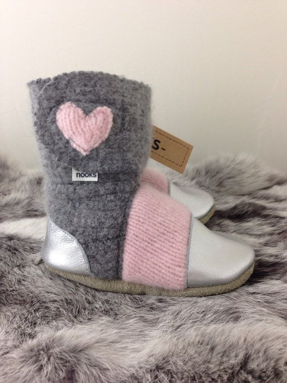 Nooks Design felted wool toddler booties/slippers by NooksDesign