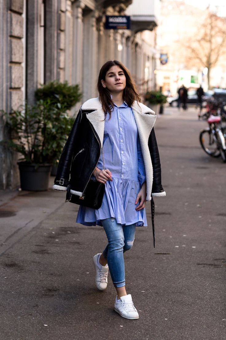 Shirtdress over Jeans + Sneakers