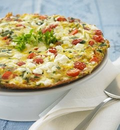 spinach, cherry tomato, and feta frittata