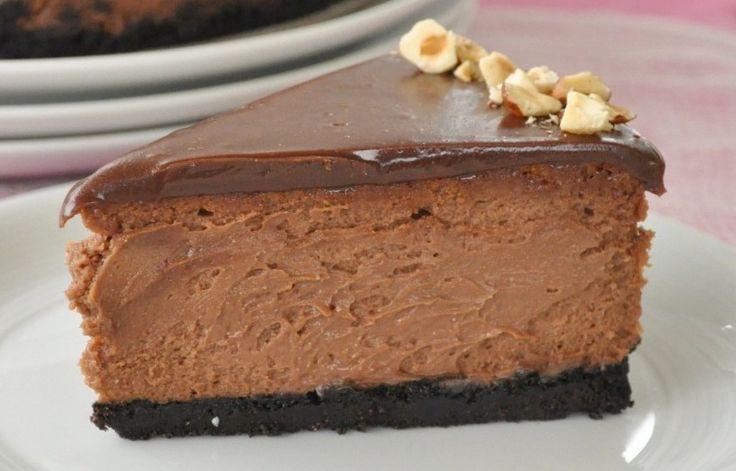 Envie dun cheesecake vraiment gourmand ?!! Avec une base de sablés aux noisettes, une crème onctueuse légèrement parfumée au Nutella..