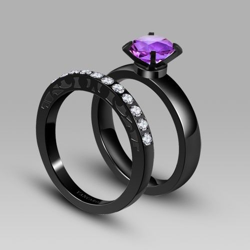 Gallery For Gt Black And Purple Wedding Ring Purple Wedding Rings Black Wedding Rings Black