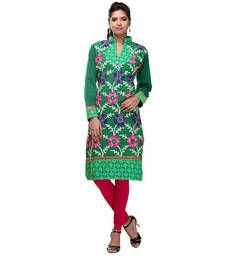 Buy green  acrylic wool blend embroidered kurti kurtas-and-kurti online