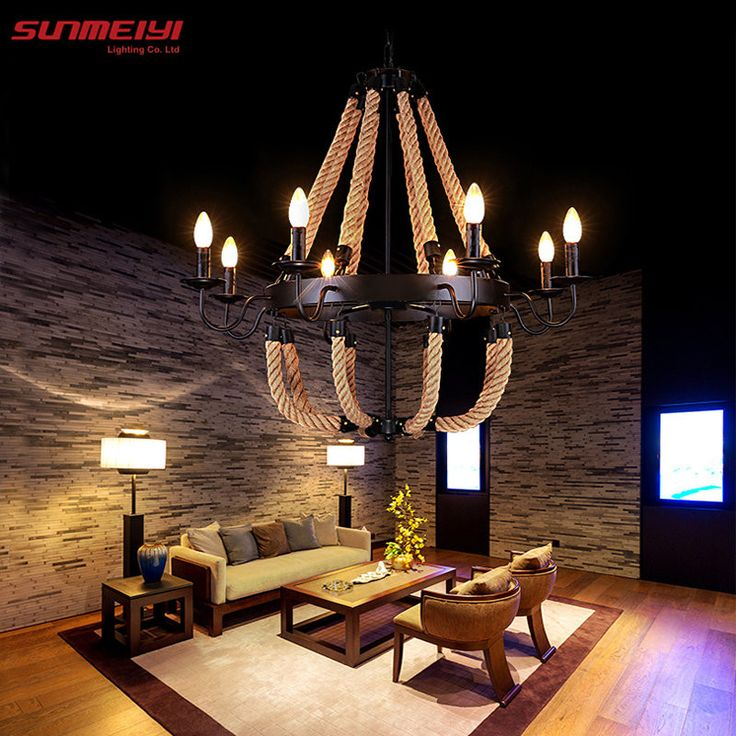 Vintage Rope Pendant Lights Lamp Loft Creative Personality Industrial Edison Bulb American Style For Living Room Decoration