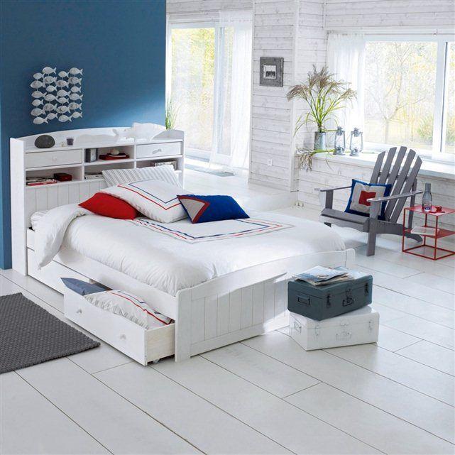 Lit avec t te de lit pin massif grimsby la redoute for Tete de lit 140 avec rangement