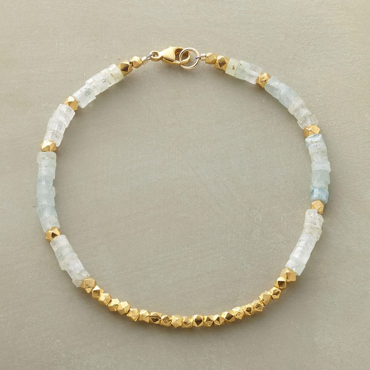 """LIGHT FILLED BRACELET--In this aquamarine and vermeil beaded bracelet, the unmistakable glow of 18kt vermeil warms aquamarine's cool blue-greens. 14kt gold filled clasp. Handcrafted in USA exclusively for Sundance. 7-1/2""""L."""