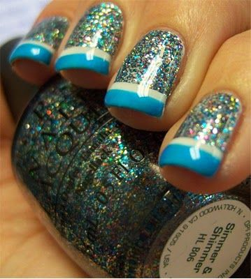 Cool.: Nails Art, French Manicures, Cute Nails, Nails Design, Blue Tips, Glitter Nails, Sparkle Nails, Nails Polish, French Tips