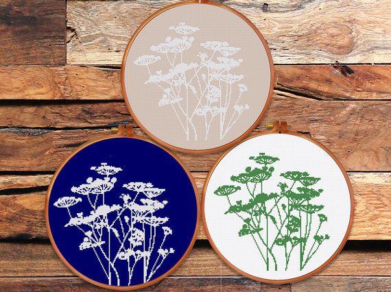 Weide bloem silhouet cross stitch patroon | Moderne minimalistische natuur wildflower gras geteld grafiek | Gemakkelijk beginner ontwerp pdf | Home decor