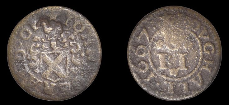 17th Century Token - Youghal, John Gerald, Penny token, 1667, 1.32g/12h (M 507; N –; BW. 763). Bird standing to left punched above arms, otherwise fair to fine, very rare