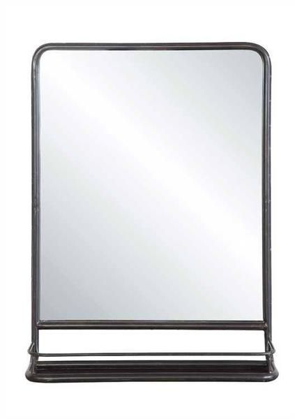 "Why We Love It Rectangular Mirror with Shelf More Information Dimensions: 19-1/2"" L x 27-1/2"" H Material: Metal"