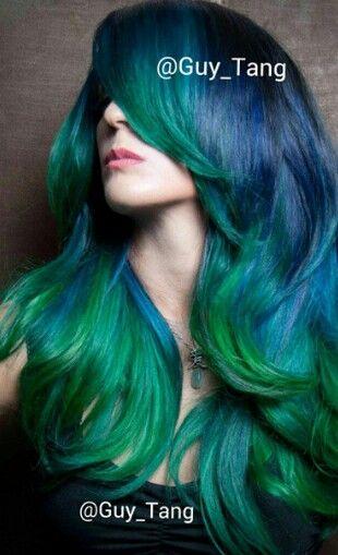Blue green dip dyed hair