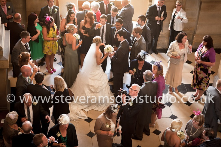 A bride with her guests at Castle Howard