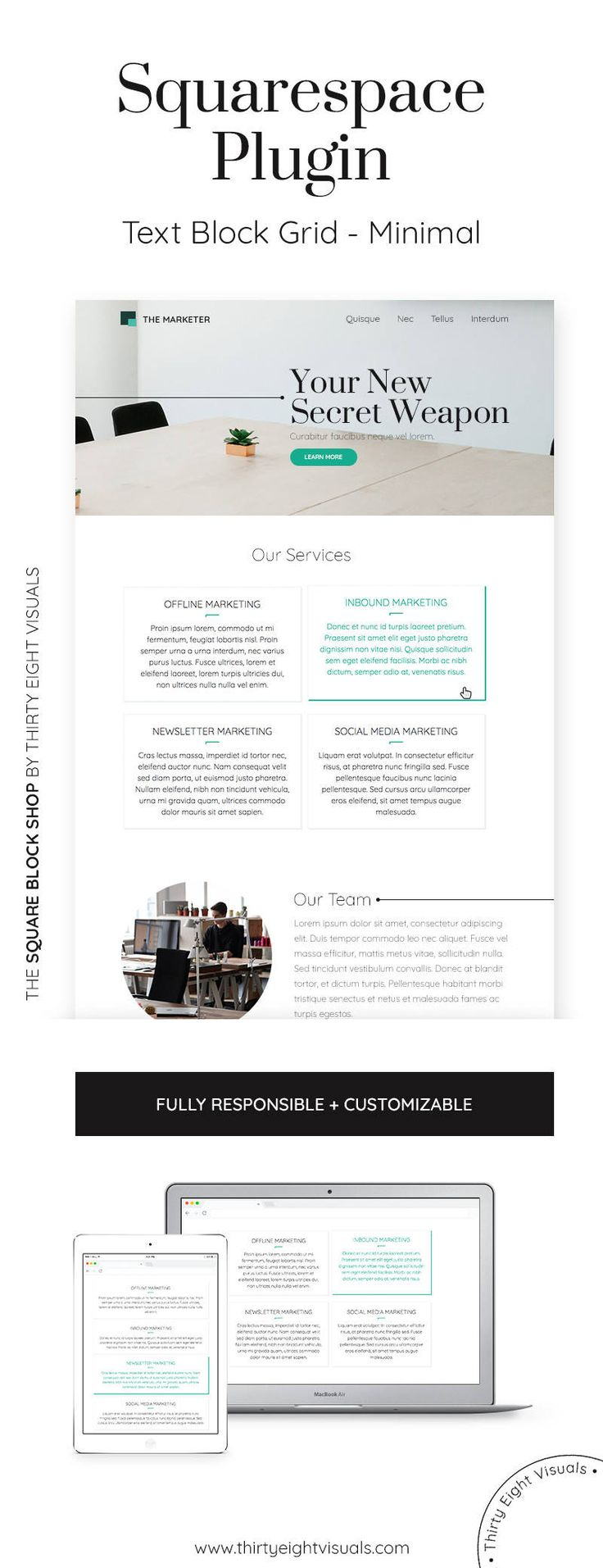 Squarespace plugin - This 4-block grid is meant to help you display your skills, services or any other brief blurb you want to showcase on your homepage to invite your visitors to click and learn more! Take a look