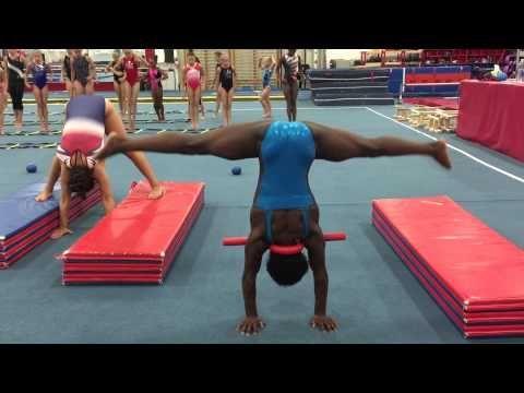 NEW Press handstand drills Conditioning- press handstands- two feet to panel mats on either side up and down-press downs