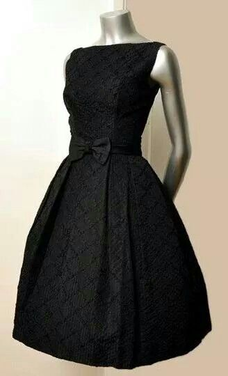 Vintage 50's Black Bow Ribbons Cocktail Party Full Skirt Dress