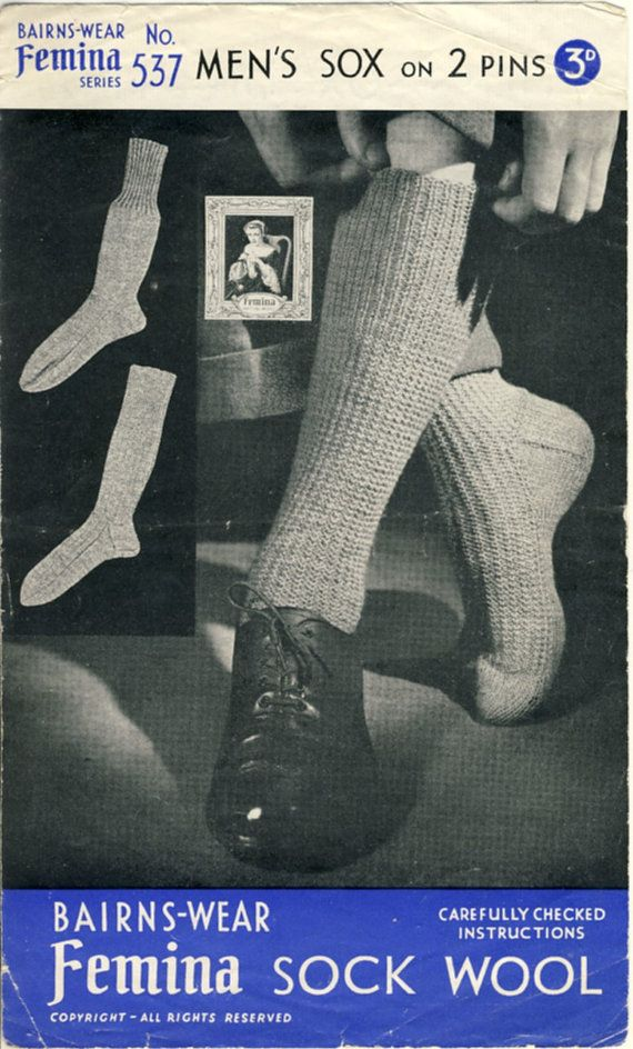 1940s Mens Sox Knitting Pattern by PatternaliaVintage. Bairns-wear Femina pattern 537 for woollen socks. In the days when socks were knitted by housewives, unlike today where they're mass produced in factories.