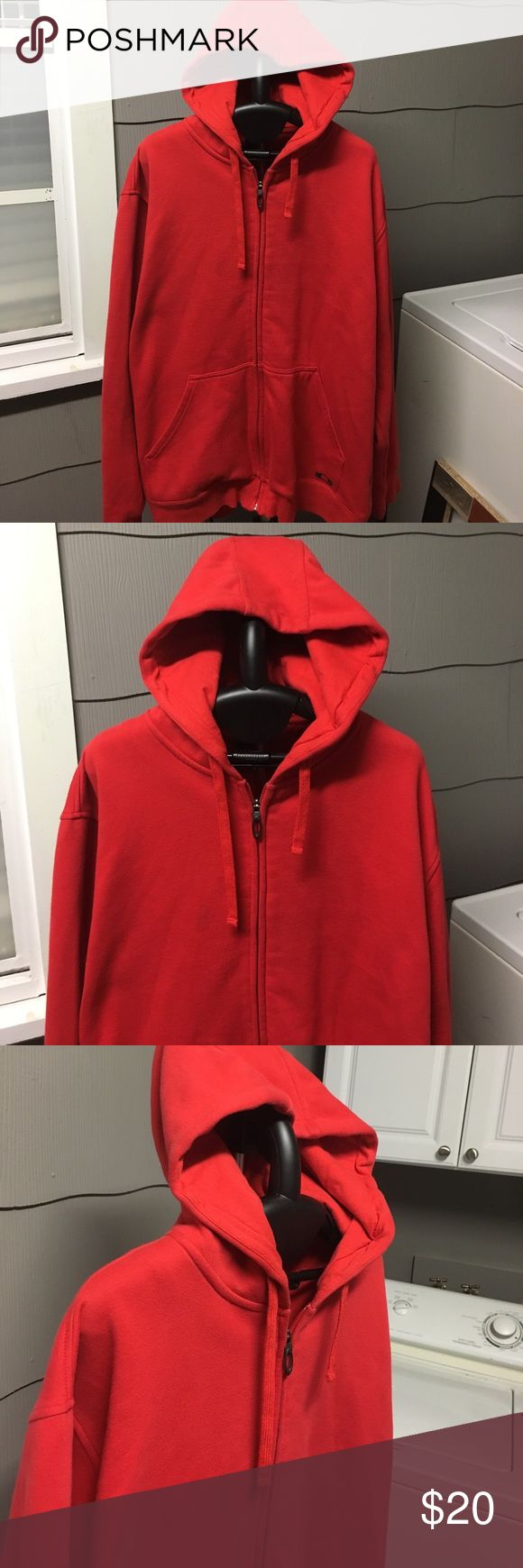Oakley Red Hooded Sweatshirt Solid red zip up with Oakley logo on front pocket and Oakley just under back of hood. Good condition Oakley Shirts Sweatshirts & Hoodies