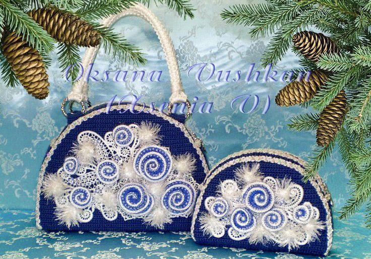 """Комплект сумочка и косметичка """"Снежный вальс"""", Украшеннием служит вышитое кружево, а так же элементы в технике фриформ. Кружево - вышивальные дизайны моей личной разработки."""