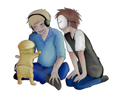 pewdiepie and cry playing with baby stephano :D aww