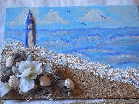 DIY-Mixed Media Beach Canvas-Decoupage su tela a rilievo/3D-Decoupage Be...