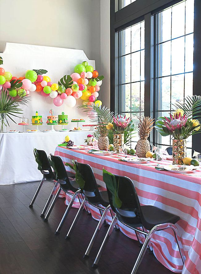 Tropical Tutti Frutti Birthday Party - Inspired By This--love the gold pineapples and easy centerpieces