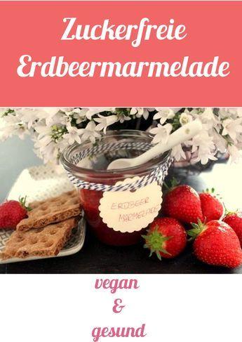 Veganes Rezept für zuckerfreie Erdbeermarmelade zum selber machen. Diese Erdbeerkonfitüre besteht ist nicht nur gesund, sondern schmeckt auch super lecker und wertet jedes Brot total auf. Klicke hier: http://www.muesliriegel-selbermachen.de/erdbeer-marmelade/ für das Rezept