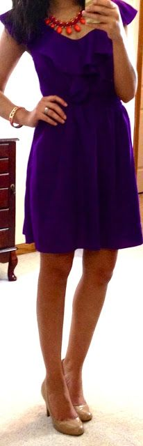 purple dress + coral accessories--I never thought to combine these two colors together!