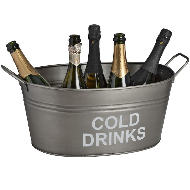 'Cold Drinks' bucket in antique pewter | From Baytree Interiors