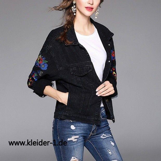 Damen Jeans Jacke mit Muster in Schwarz