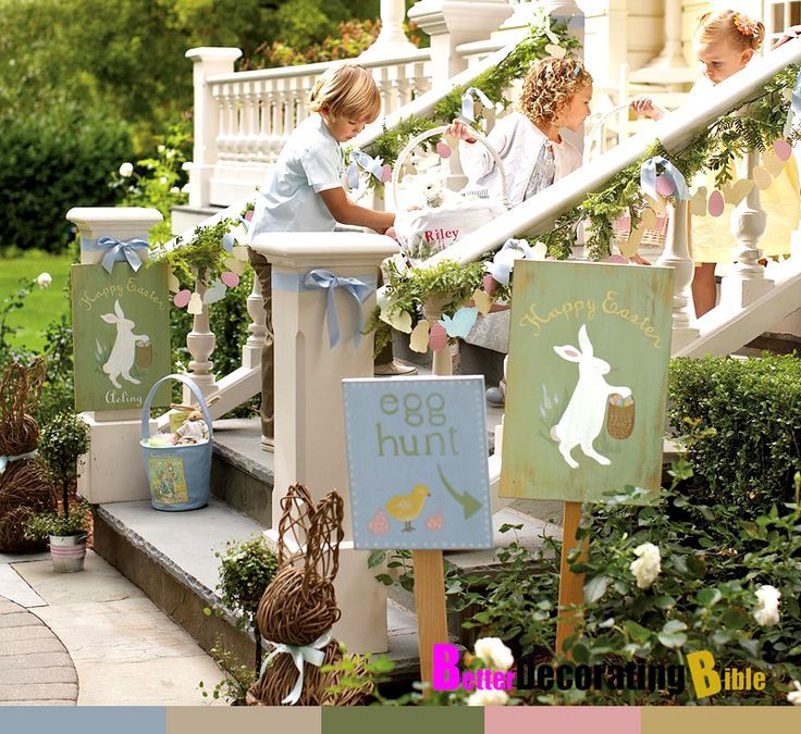 Easy easter decorating ideas stairs pottery barn better for Decorated bible