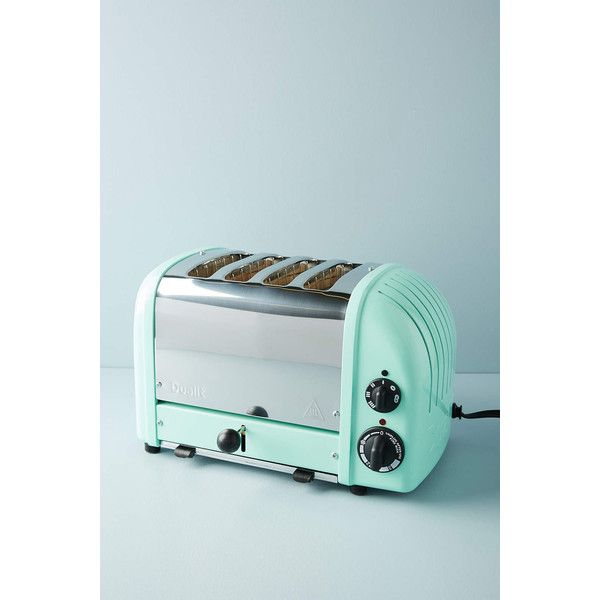 Dualit Four-Slice Toaster ($328) ❤ liked on Polyvore featuring home, kitchen & dining, small appliances, mint, four slice toaster, bread toaster, 4 slice toaster, dualit toaster and four slot toaster