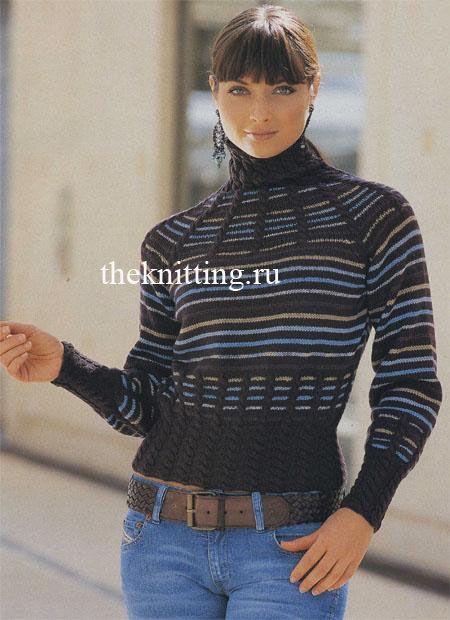 Вязание водолазки Этот свитер с высоким воротником с рукавами реглан удачно сочетает в себе и разнообразные цвета и красивые косы. Когда погода оставляет желать лучшего, можно надеть джинсы и вот такой теплый свитер и чувствовать себя красивой. Уровень сложности: следующий шаг в рукоделии.