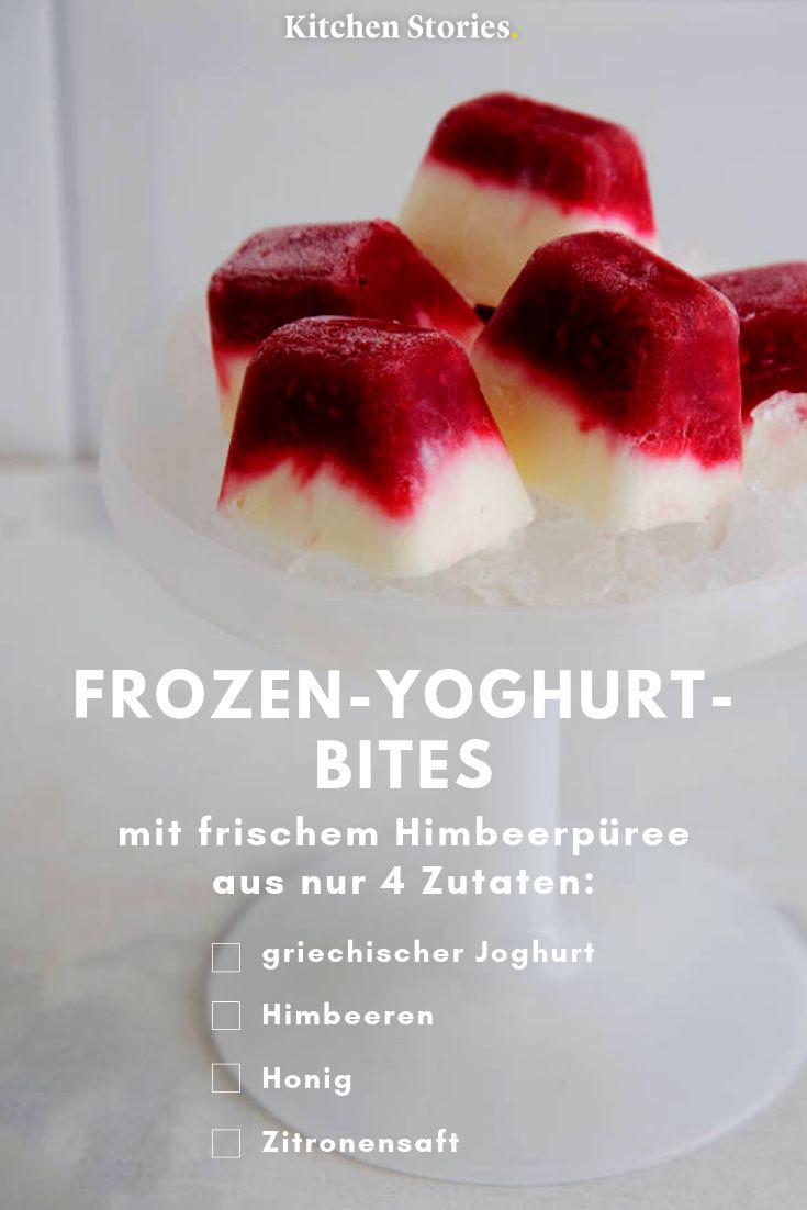 Frozen Yoghurt Bites with raspberries