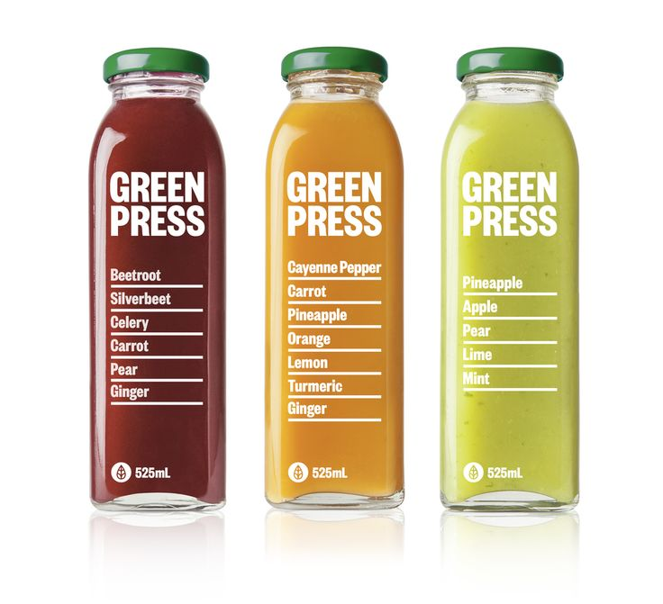 Designer Angus Nicholls helped smoothie and juice bar Green Press, create their first bottle packaging and brand identity.   Known for specializing in healthy, positive eating (and its cold pressed  juice) it was important for Green Press to exhibit the natural ingredients  of its products to consumers.