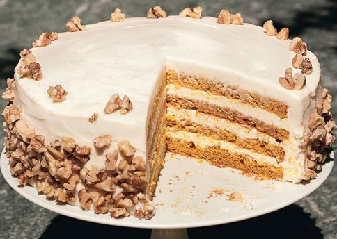 ... exciting! Four Layer Pumpkin Cake with Orange-Cream Cheese Frosting